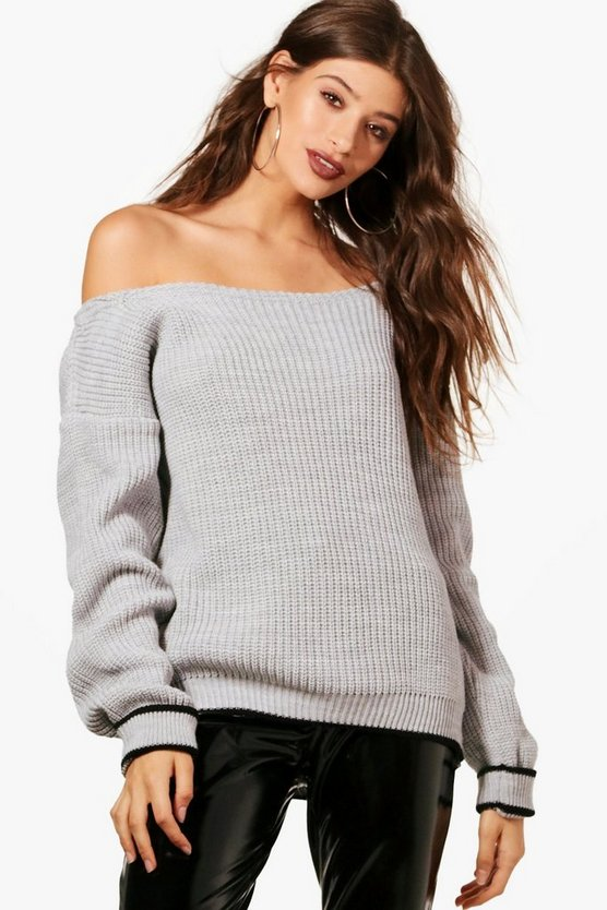 Turn Up Cuff Slash Neck Jumper