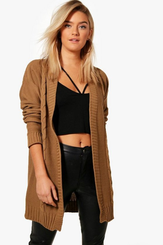 Edge To Edge Cable Knit Cardigan, Camel, Donna