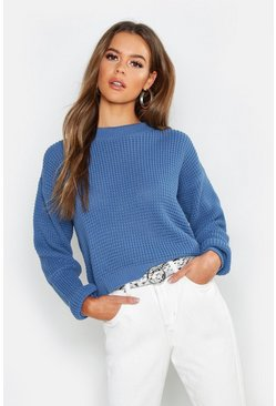 Womens Denim Crop Waffle Knit Sweater