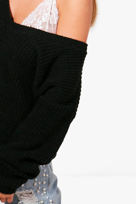 Jersey de Gris con pico cuello extragrande r1Ywxr