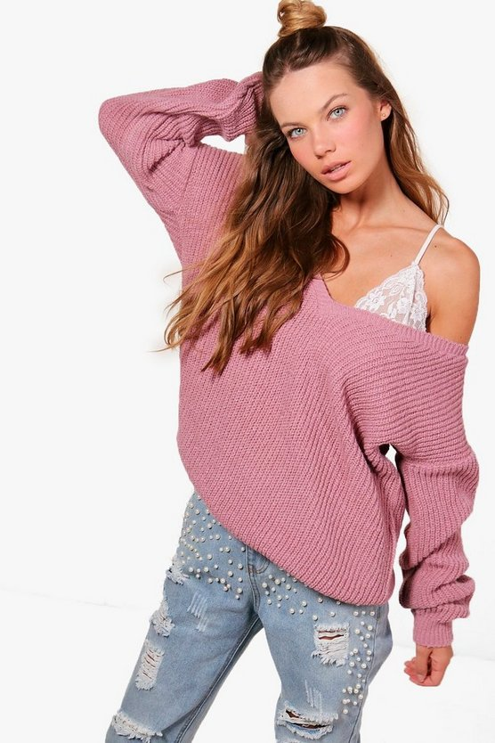 Womens Rose V Neck Oversized Jumper