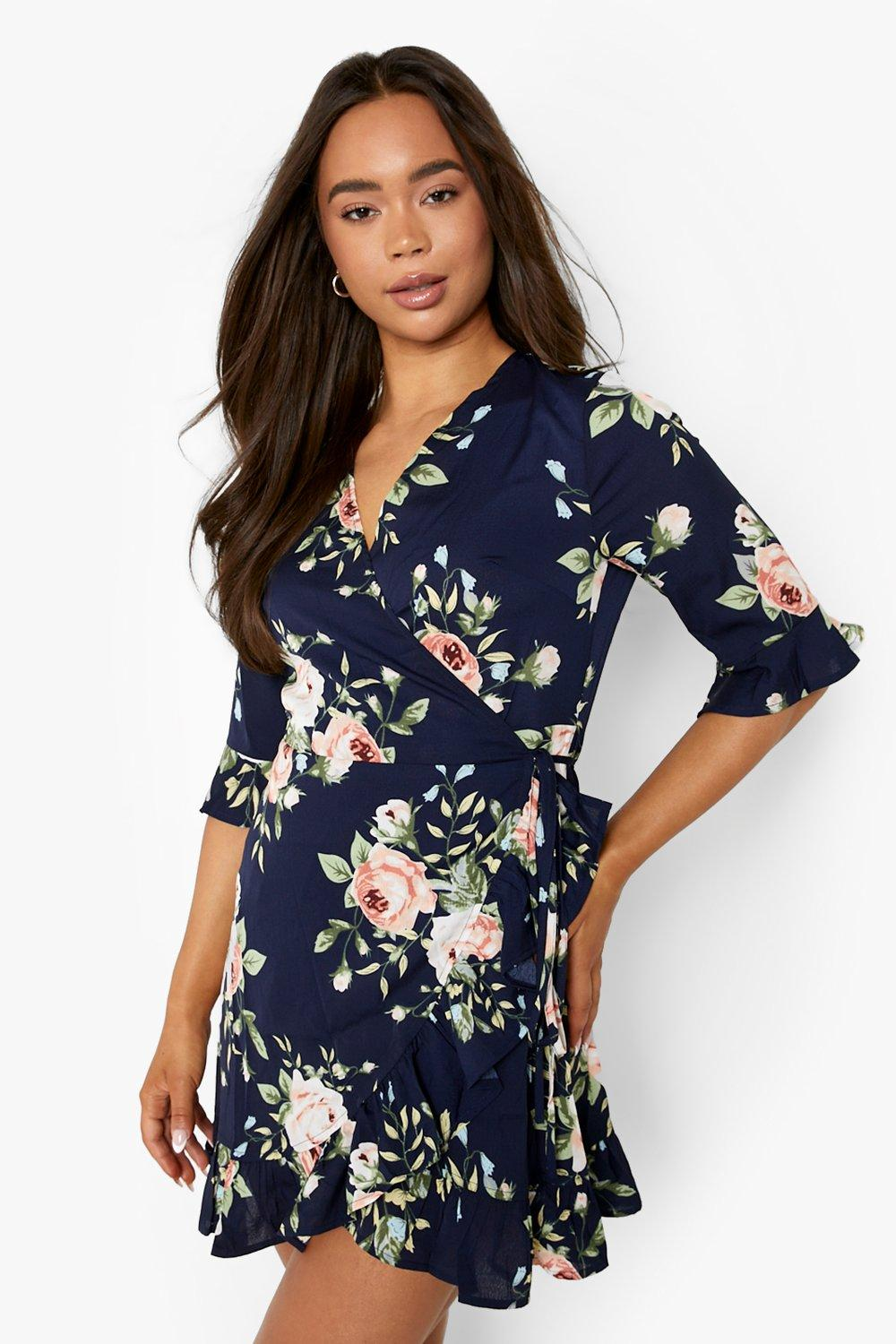 size 40 Discover strong packing Floral Frill Hem Wrap Dress | Boohoo