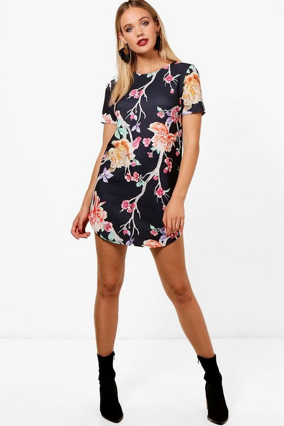 Floral Oriental Cap Sleeve Shift Dress