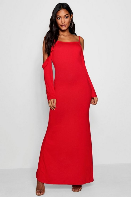 Cold Shoulder Frill Detail Maxi Dress