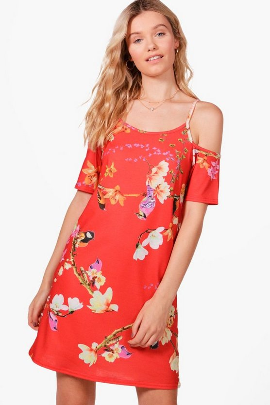 Oriental Cold Shoulder Shift Dress