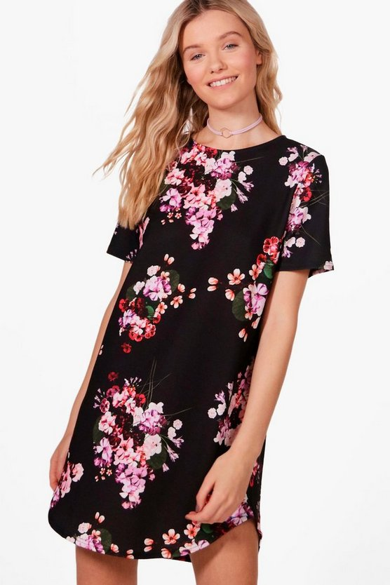 Womens Black Willow Floral Printed Shift Dress