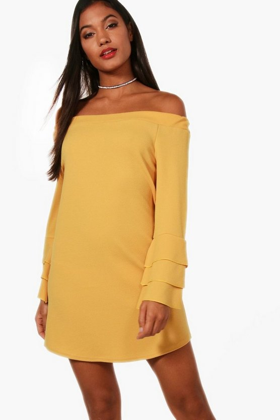 Tiered Sleeve off Shoulder Shift Dress