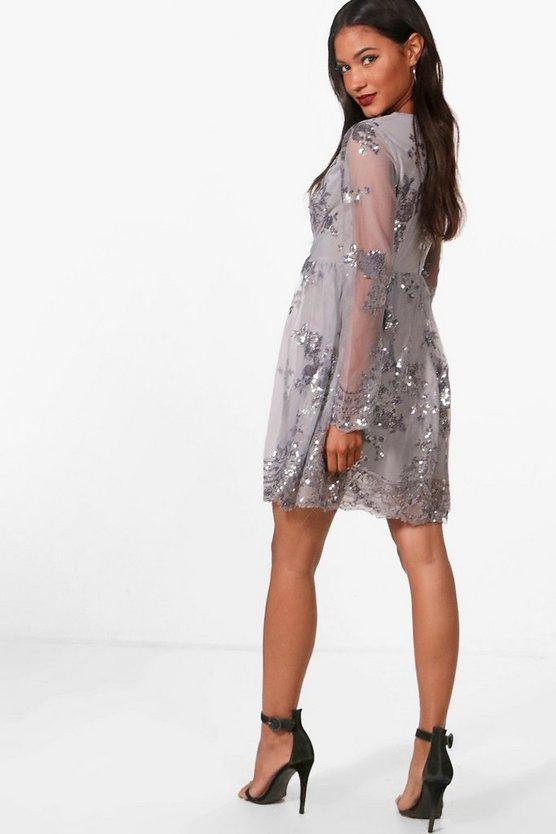 Ellie Sequin and Mesh Long Sleeve Skater Dress