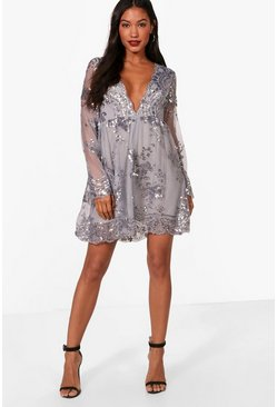 Womens Silver Ellie Sequin and Mesh Long Sleeve Skater Dress
