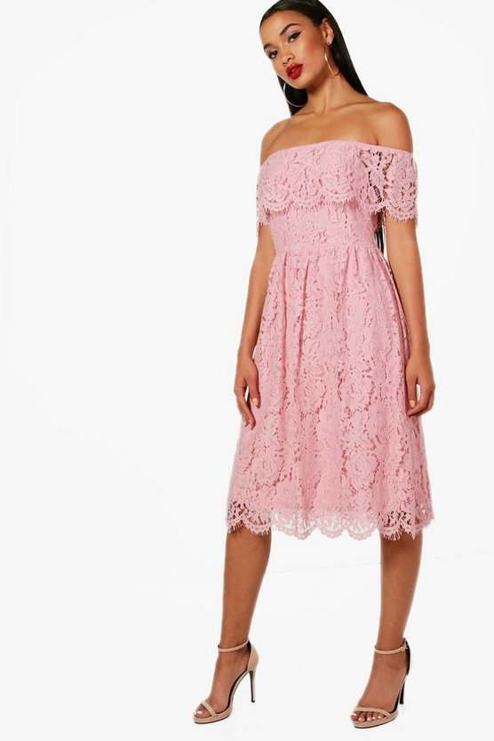 Eyelash Lace off The Shoulder Skater Dress