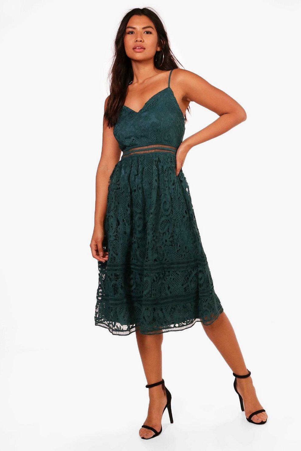 b6180753fa31f Womens Teal Lace Trim Detail Midi Skater Dress