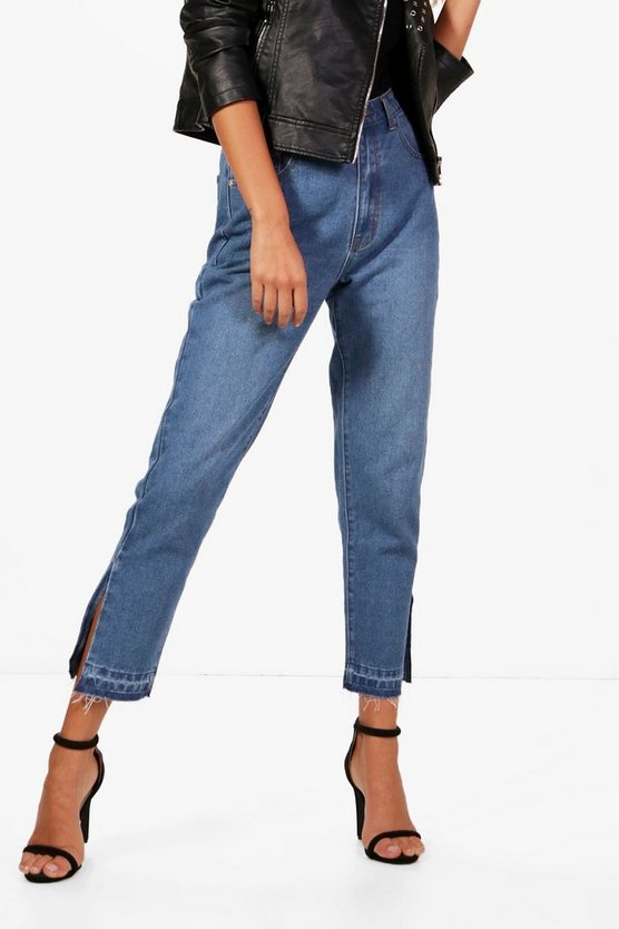 Split Seam Hem Detail Mom Jeans