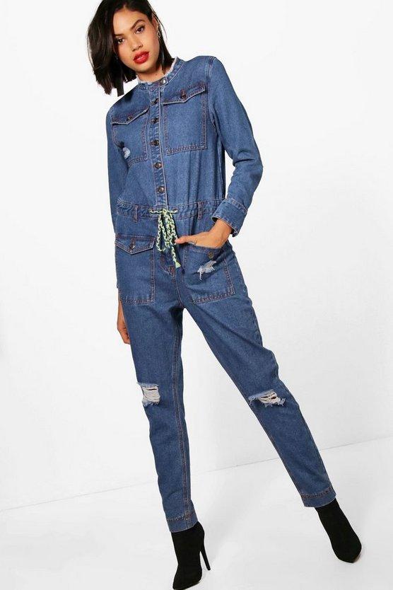 Dani Ripped Denim Jumpsuit