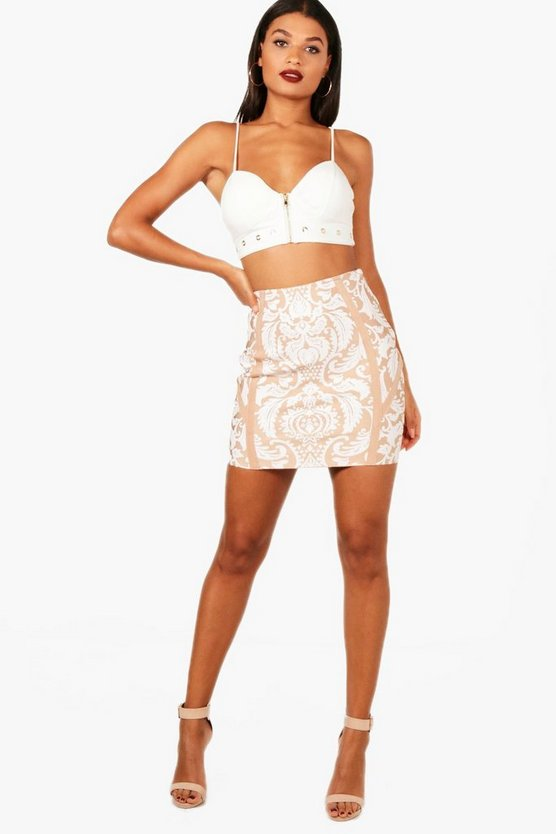 Premium Heavy Bandage Printed Mini Skirt, Телесный, Женские