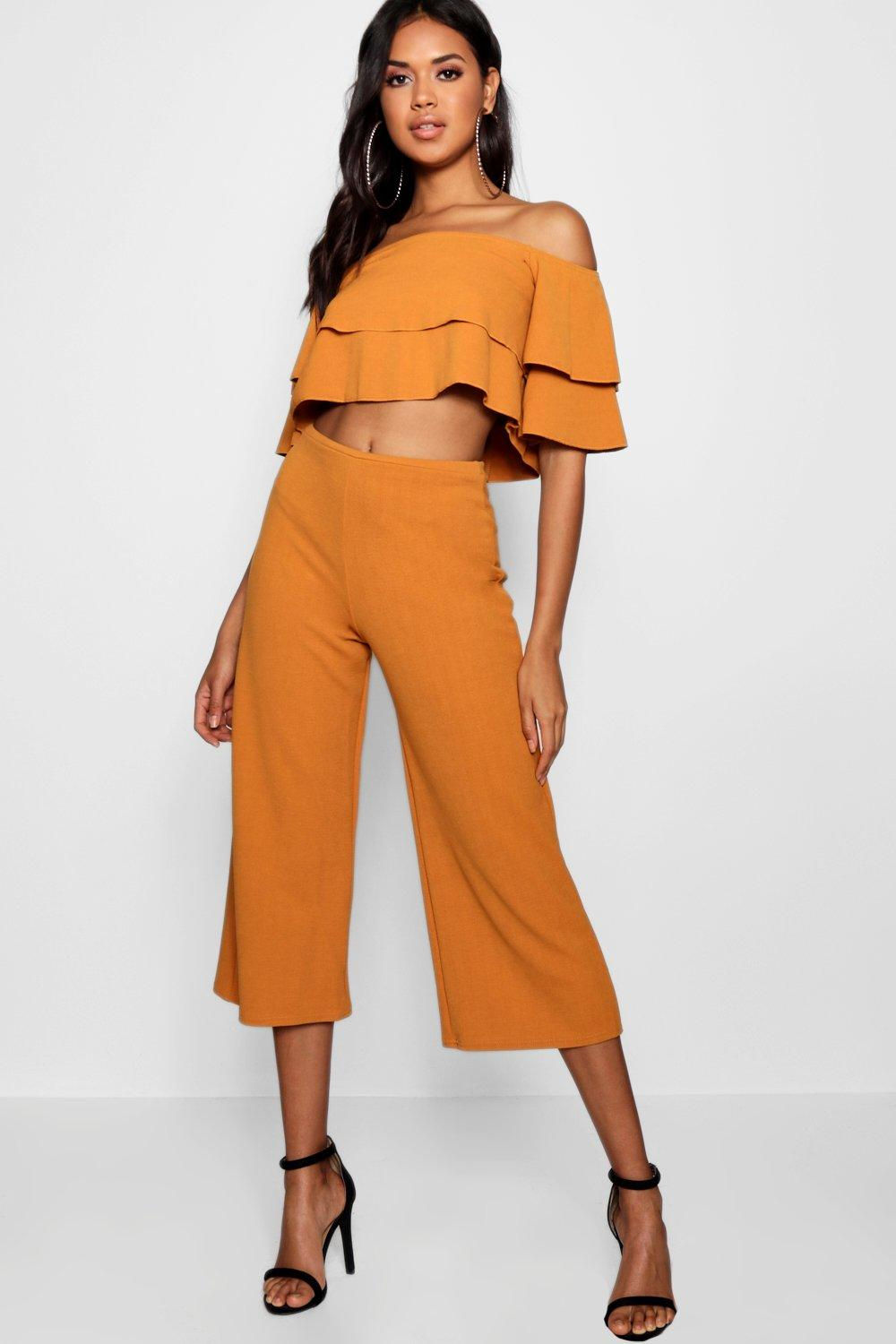 womens double tube top and culotte two-piece set - orange - 2