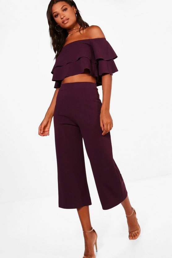 Womens Black plum Double Bandeau Top and Culotte Co-ord