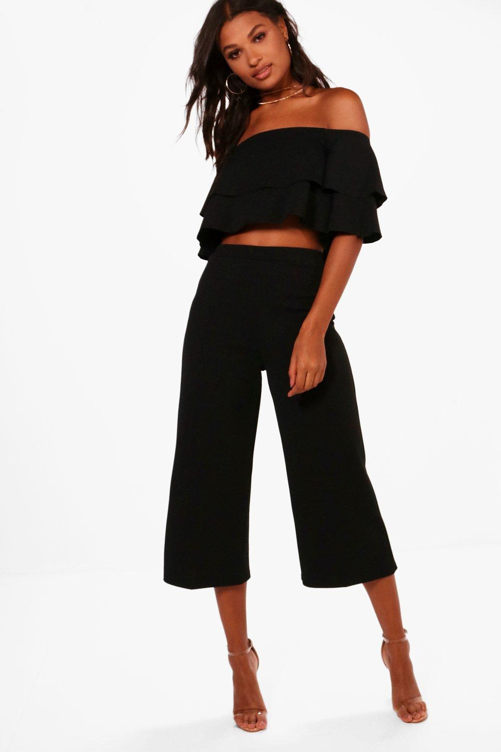 womens double tube top and culotte two-piece set - black - 2