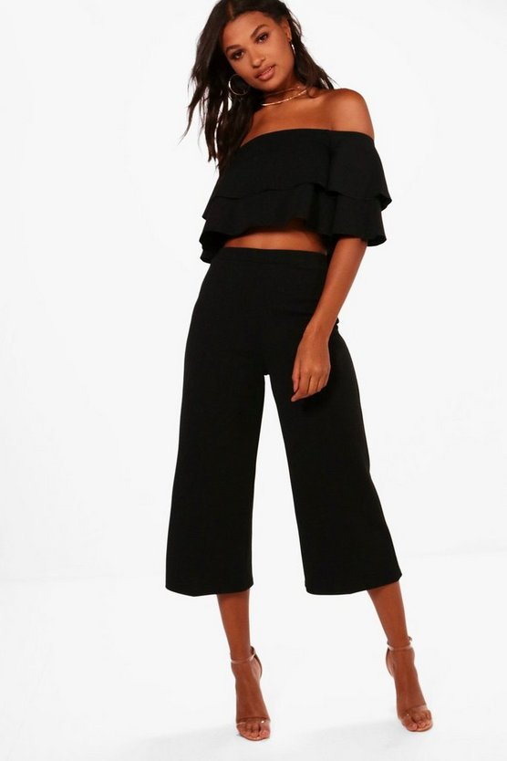 Womens Black Double Bandeau Top and Culotte Co-ord