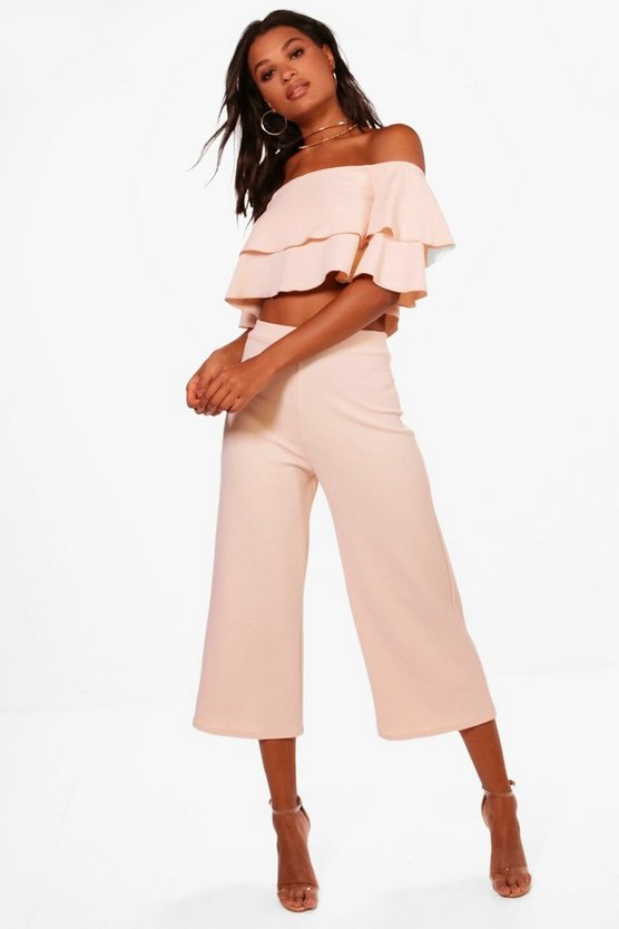 Womens Blush Double Bandeau Top and Culotte Co-ord