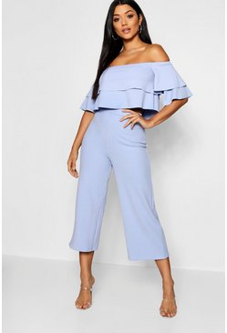 Womens Cornflower blue Double Bandeau Top and Culotte Co-ord
