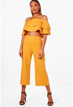 Womens Desert sand Double Bandeau Top and Culotte Co-ord