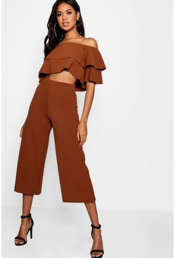 Womens Mocha Double Bandeau Top and Culotte Co-ord