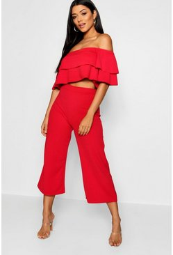 Womens Red Double Bandeau Top and Culotte Co-ord