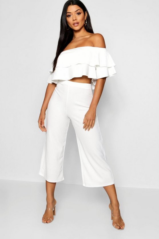 Womens White Double Bandeau Top and Culotte Co-ord