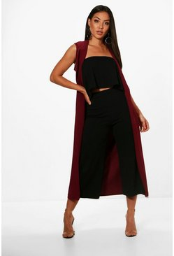 Womens Black Bandeau Culotte and Duster 3 Piece Co-ord