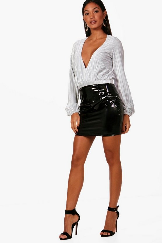 Slouchy Wrap Front Long Sleeve Velvet Crop