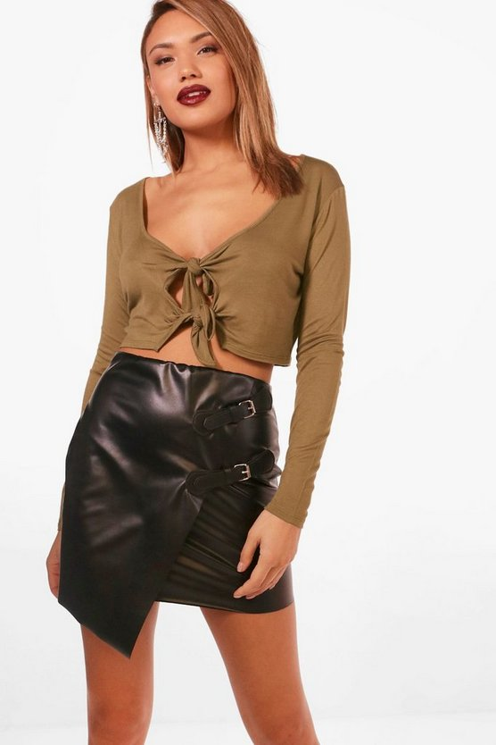 Long Sleeve Tie Front Crop Top