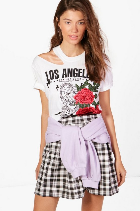 Yasmin Printed Distressed Embroidered Tee