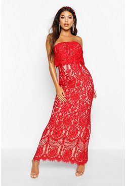 Womens Red Boutique  Scallop Lace Bandeau Maxi Dress