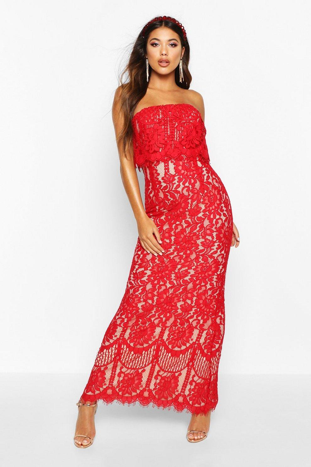 406656373942fd Boutique Scallop Lace Bandeau Maxi Dress