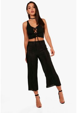 Womens Black Olivia Pleated Wide Leg Culottes