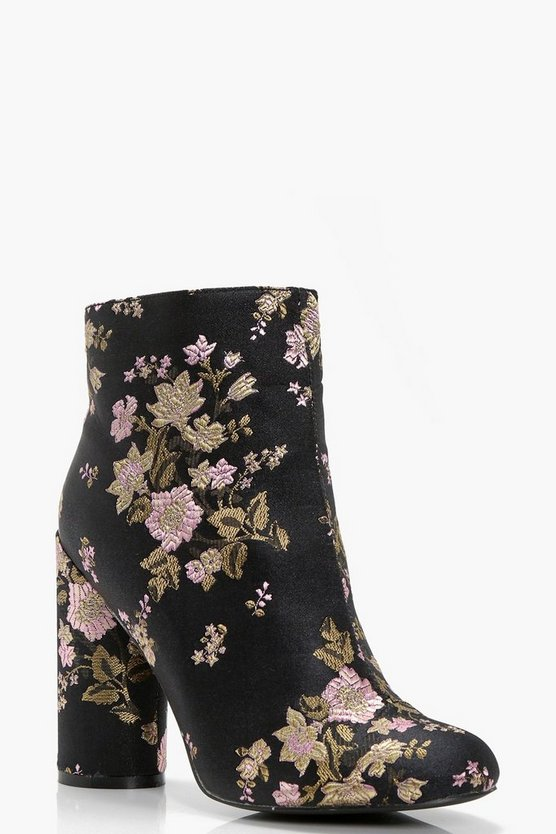 Floral Embroidered Cylinder Heel Boots