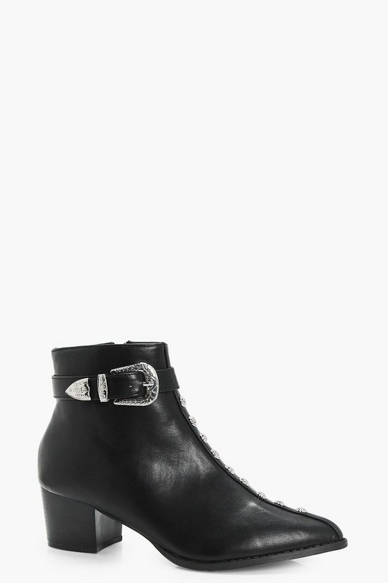 Cerrie Rose Stud Western Ankle Boots