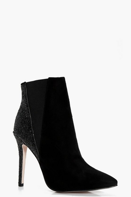 Nadia Glitter Back Pointed Shoe Boots