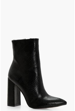 Womens Black Snake Detail Pointed Sock Boots
