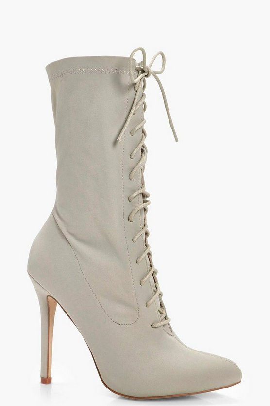 Alice Lace Up Stretch Sock Boots