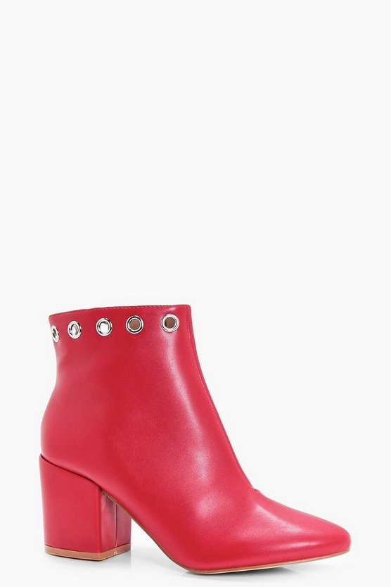 Jenny Eyelet Detail Block Heel Ankle Boot