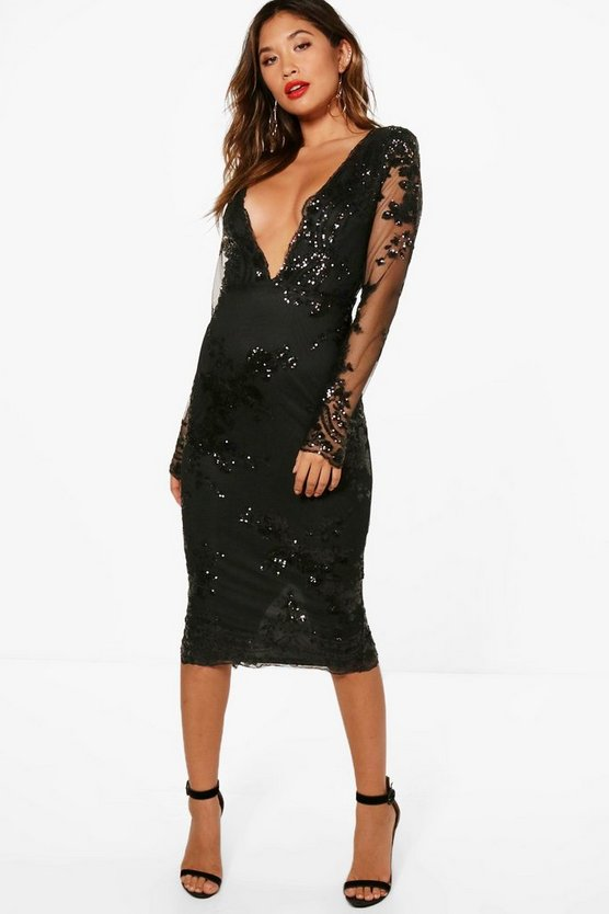 Womens Black Boutique Sequin Mesh Midi Dress