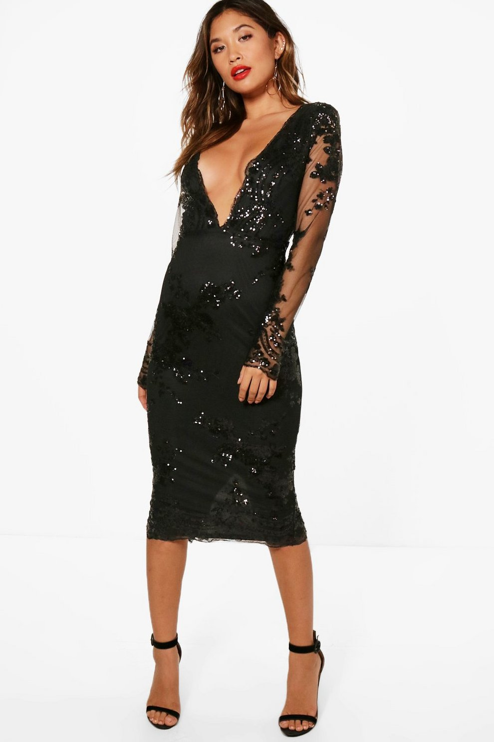 c8eb458622a Womens Black Boutique Sequin Mesh Midi Dress