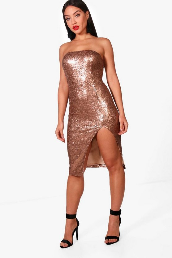 Womens Sequin Bandeau Split Detail Midi Dress