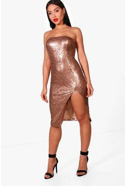 Sequin Bandeau Split Detail Midi Dress, Женские