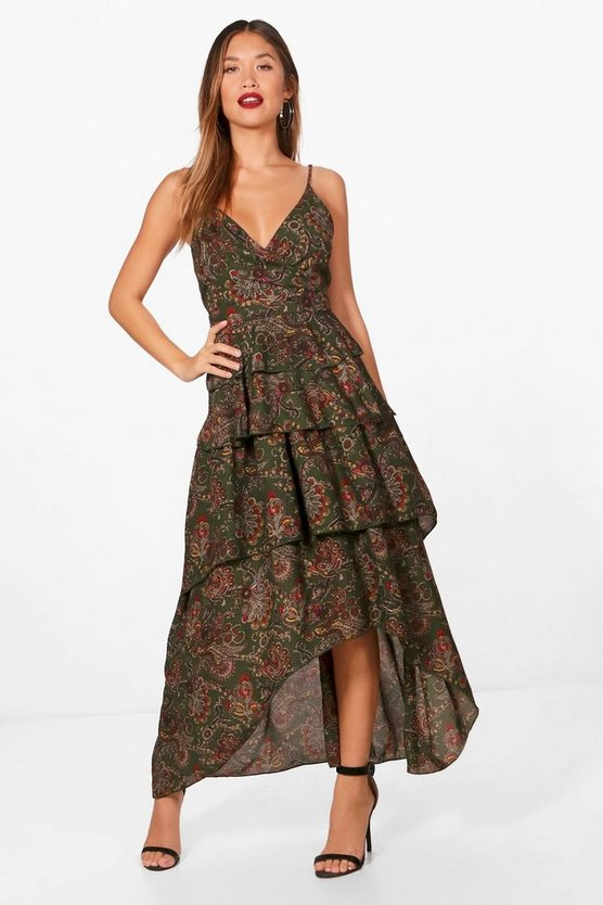 Amy Ruffle Tiered Paisley Maxi Dress