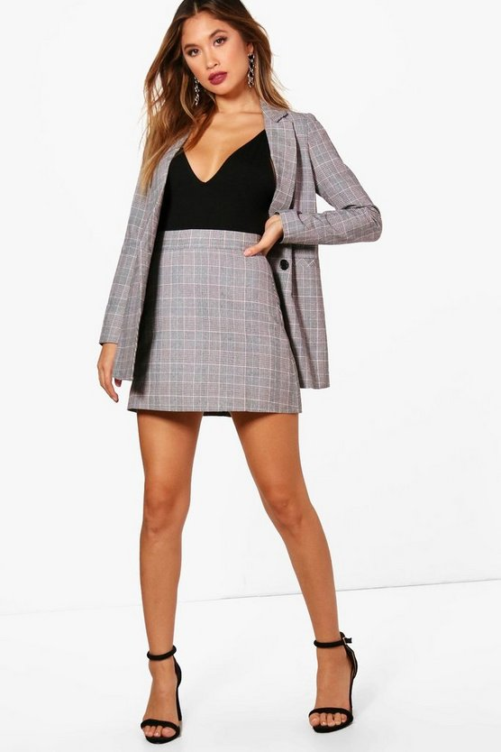 Womens Grey Kelly Premium Check A-Line Skirt