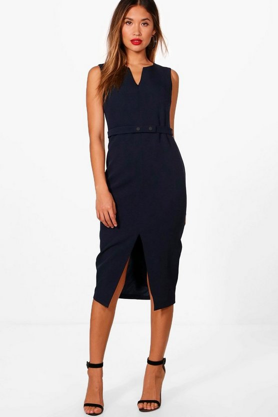 Split Front Woven Tailored Belted Dress