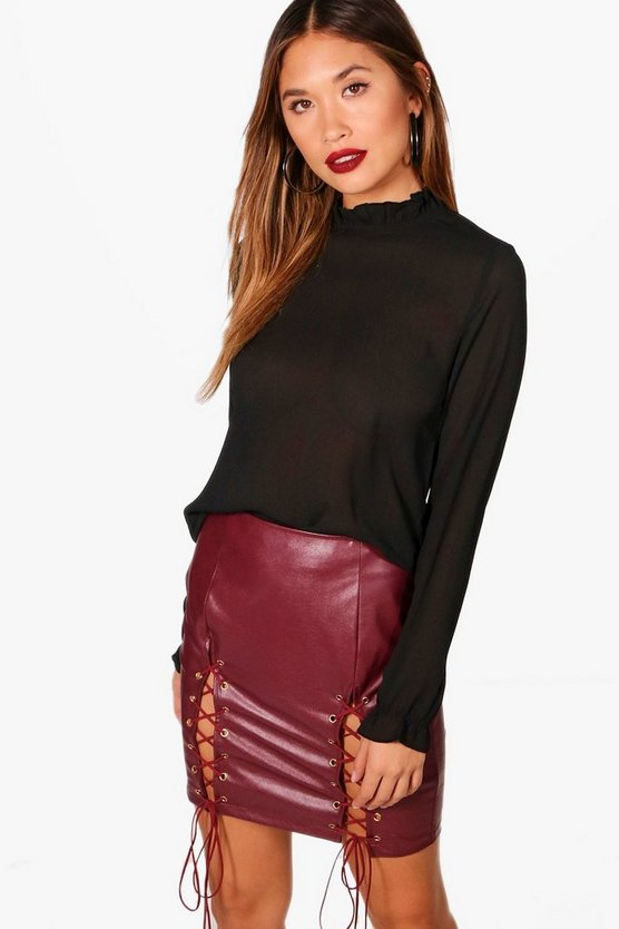 Maddison Crinkle High Neck Blouse