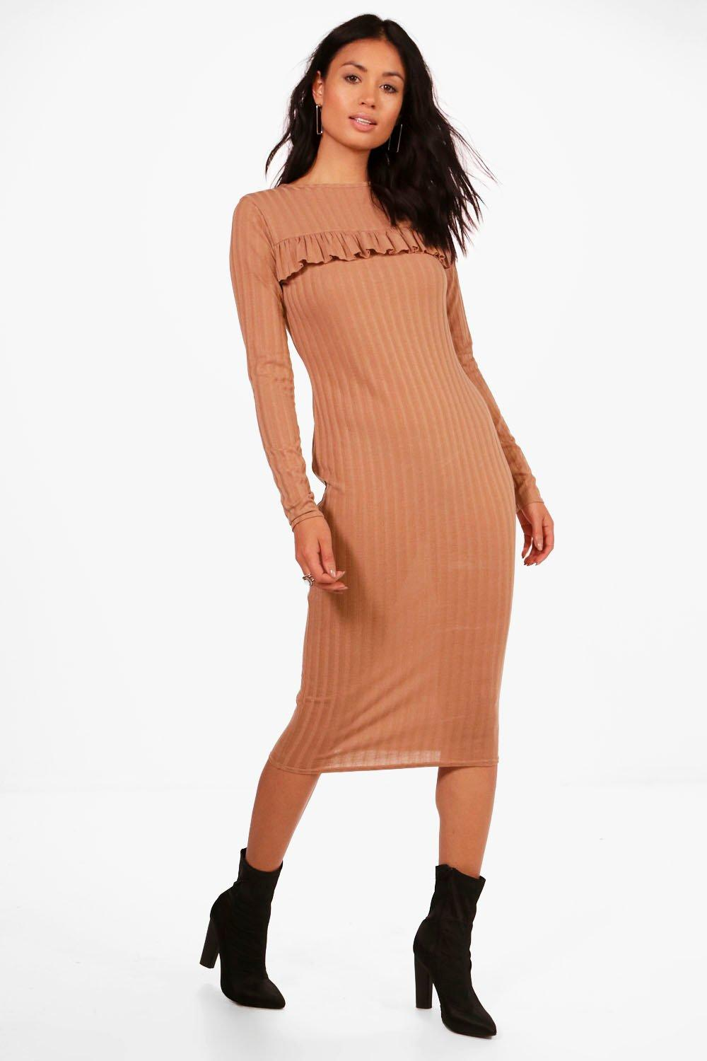 Ribbed Frill Bodycon Midi Dress